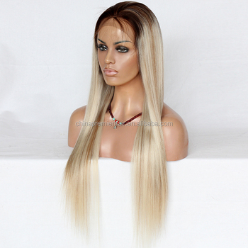 Customize Wig Ombre White Color With Medium Ash Brown Highlight Color 100%  Human Hair Wig df9269673538