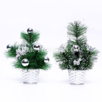 30cm PVC xmas tree with silvery potted PVC Mix needle pine Christmas Decoration