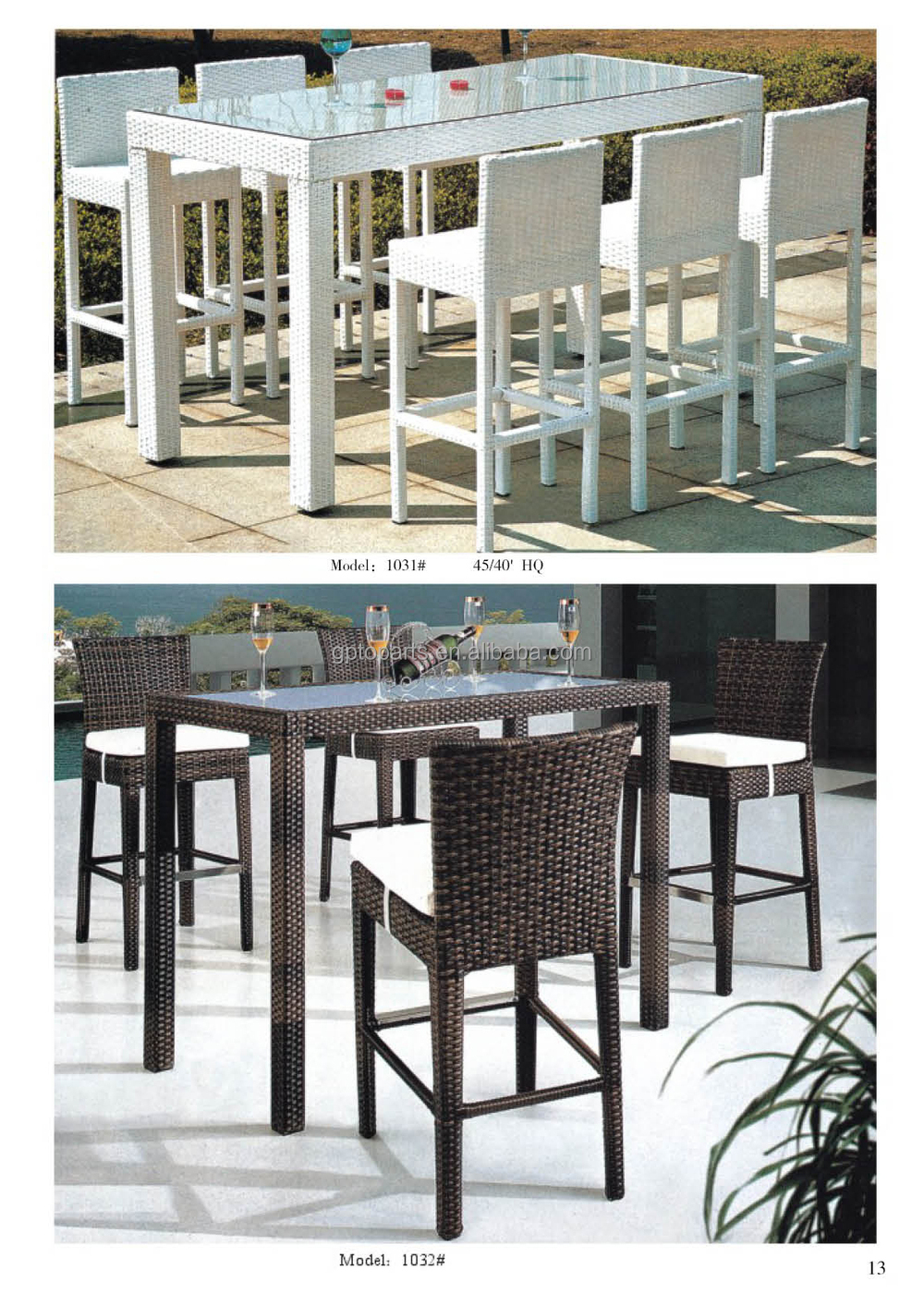 High Quality Modern Outdoor Bar Table With 6 Stools