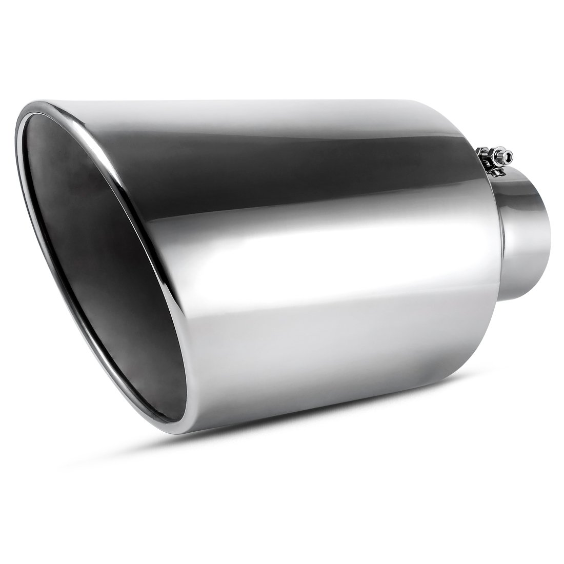 5 Inlet Black Exhaust Tip AUTOSAVER88 5 x 6 x 15 Clamp On Design Universal Stainless Steel Diesel Exhaust Tailpipe Tip for Truck.