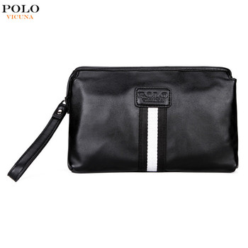 56bc054e21b3a VICUNA POLO Casual British Style Multilayer Clutch Wallet Large Capacity  Black PU Leather Clutch Bag Men's