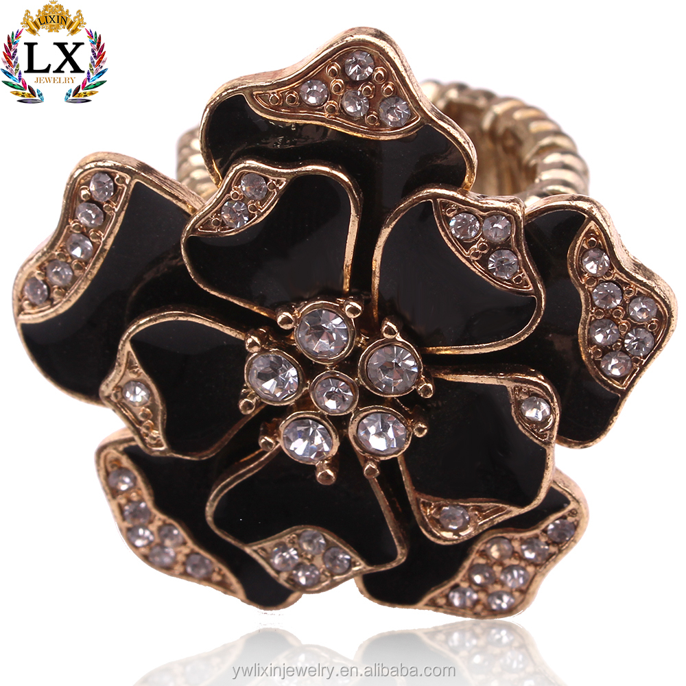 RLX-00068 new design ladies finger adjustable gold ring with the enamel black flower rose shaped ring elastic
