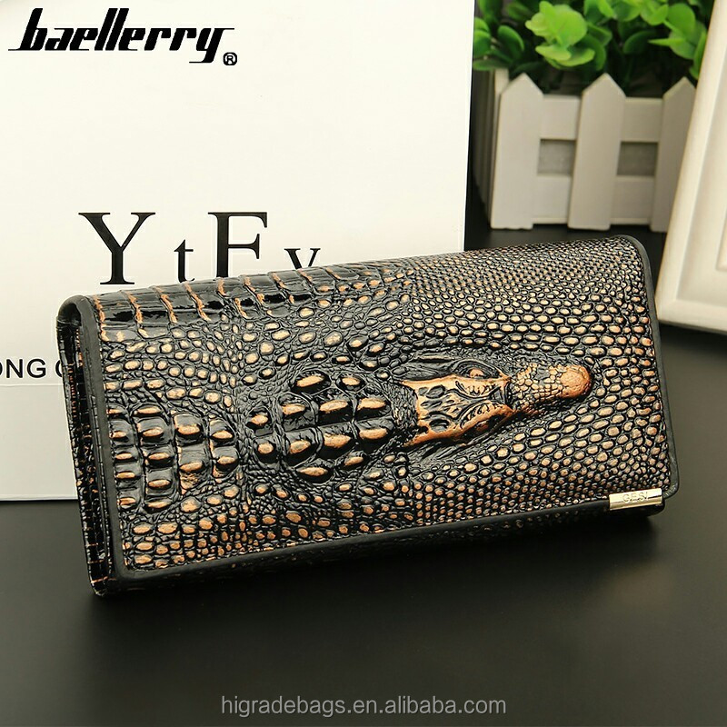 Fashion top grain lady fake crocodile leather wallet
