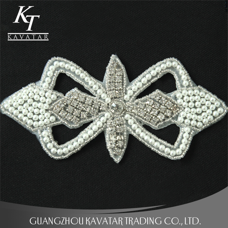 Wholesale handmade beaded patches,rhinestone applique for crystal wedding dress