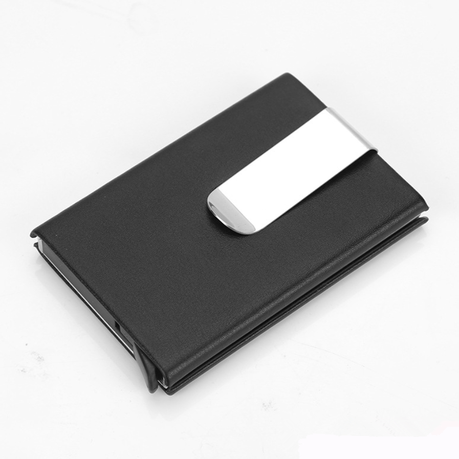 Rfid Blocking Aluminum Alloy Card Box Holder Slim Wallet Portable Anti Theft Metal Card Clip With Demagnetizing Automatic Pop Up