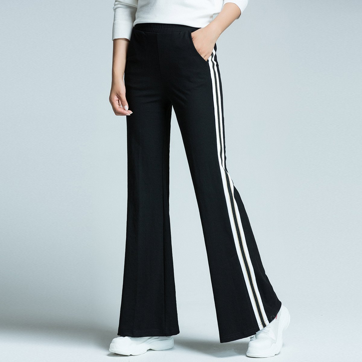 Loose  And Easy Straight Side Striped Flared Trousers For Women's Casual Wide-Leg Trousers