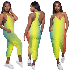 2019 new hot sell Fashion women shinny rainbow casual Sleeveless V-Neckline baggy Rompers Jumpsuits