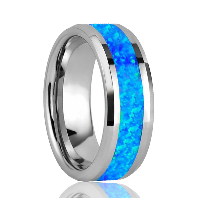 Tungsten Ring Leeg voor Real Blue Opal Inlay Mens Tungsten Band Trouwringen