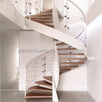 Prefabricated Stainless Steel Railing Column Wood Top Handrail Tread Metal Spiral  Stairs