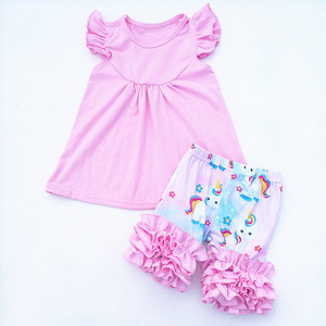 Baby Girls Clothing Set Flying Sleeve Sleeve Top With Short Pants Set For Wholesale