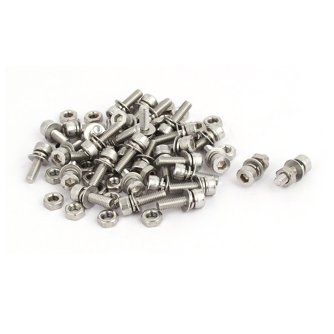 uxcell M3x10mm 304 Stainless Steel Hex Socket Head Cap Bolt Screw Nut w Washer 35 Sets