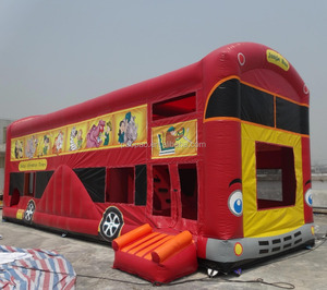 Combination Castle inflatable red jungle bus shape inflatable slide game,inflatable bouncy castle and slide combo