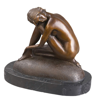 SHTONE Thinking Female Bronze Scylpture TPY-115 Sleepy Lady Bronze Sculpture Art Deco