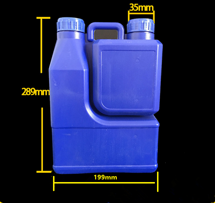 Good Quality 2000+1000mL twin neck AB HDPE EVOH CO-EX Empty square fertilizer plastic bottle