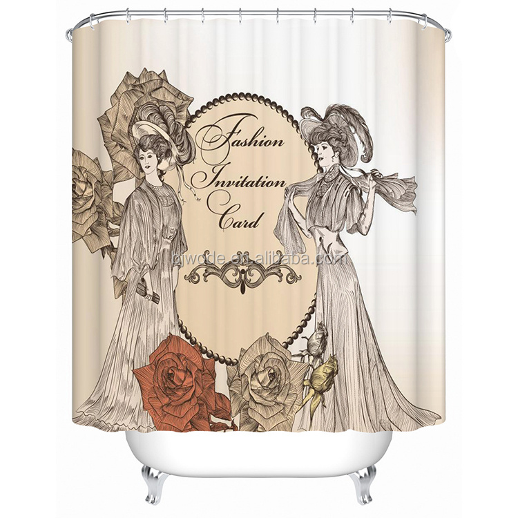 Beautiful women 3d digital printing 100% polyester led shower curtain