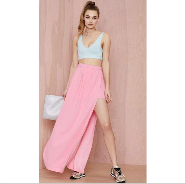 202177dc9d9b86 Get Quotations · 2015 Brand high slit maxi dress skirt long womens  Irregular pink chiffon maxi skirt plus size