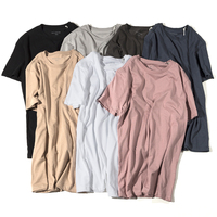 Wholesale High quality Scoop Bottom Round Neck Plain Oversized Shirt T Shirt Men