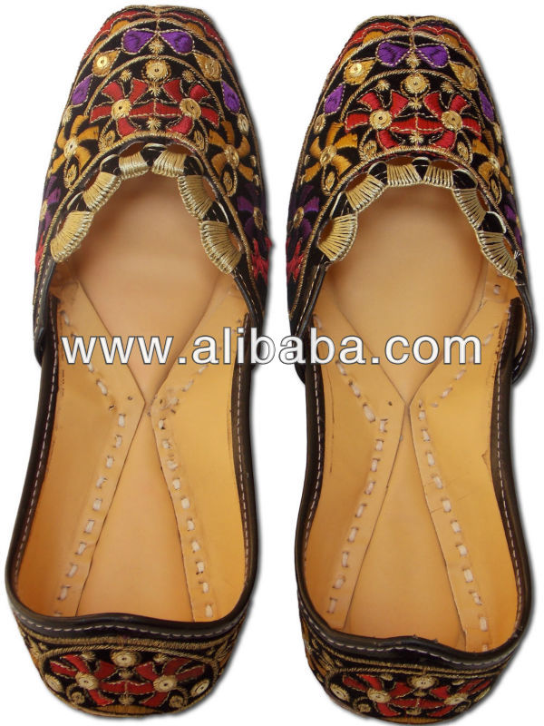 49702471bb Designer Indian Leather Ladies shoes with Embroidery work Rajasthani Mojari  JJ136