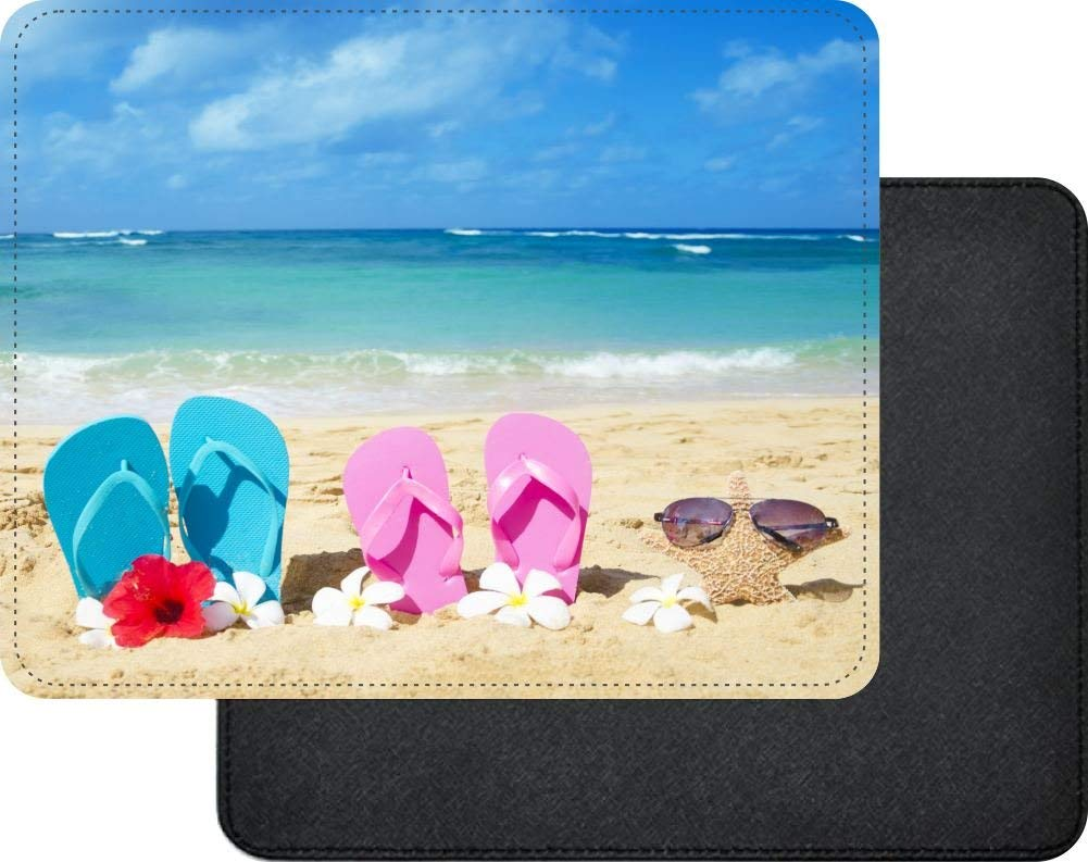 c43ae820357649 Get Quotations · Rikki Knight Pink Yellow Flip Flops Starfish Red and White  Flowers Design Faux Leather Rectangular Mouse