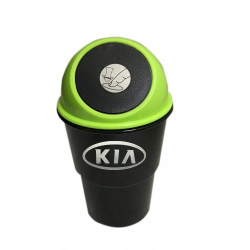 FixtureDisplays Green & Black Portable Mini Car Garbage Can Convenient Traveling Rubbish Holder Vehicle Dust Bin w/ Kia Car Logo (Logo to be applied by buyer in desired position)!
