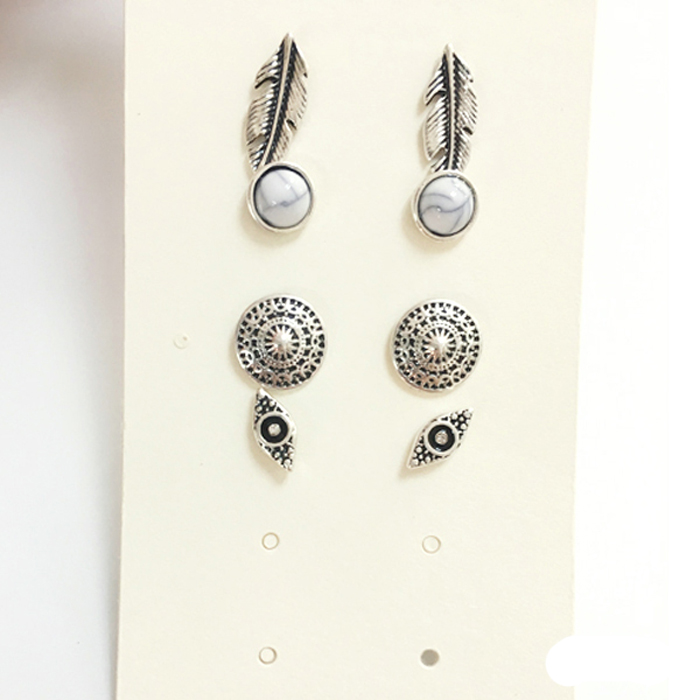 New antique silver earring stud set 4 pack alloy earrings