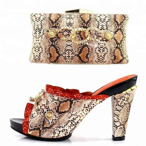 KB7697 African Bridal Dress Shoes and Matching Bags Set Women High Heel Slippers