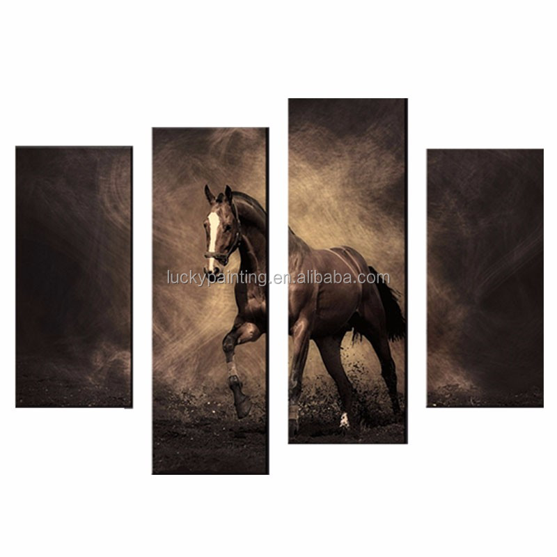 LK470 Sweet Horse Pets & Animals Canvas Print Wall Art Painting For Home Decor B 4 Panel Paintings Modern Giclee Artwork The Pic