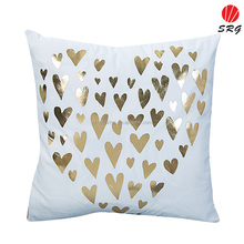 best product 2016 gold love heart foil printed soft plushed surface pillow cover cushion