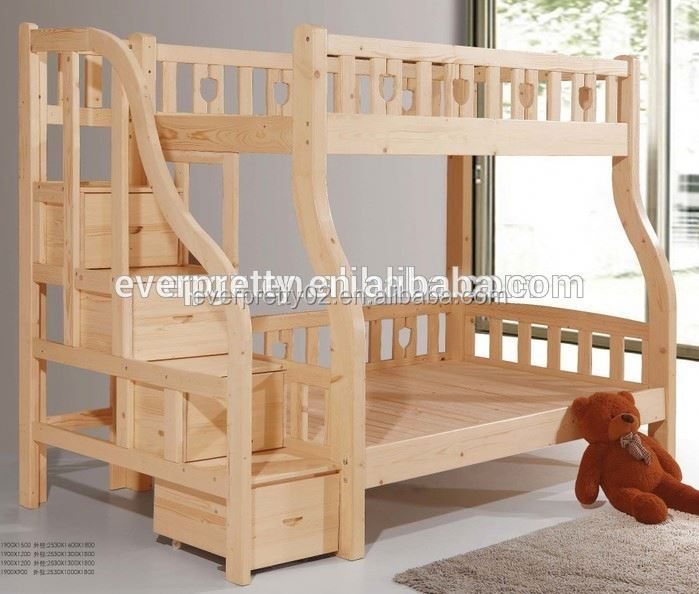 Antique Solid Wood Bedroom Sleigh Teak Wood Double Bunk Beds with Stairs