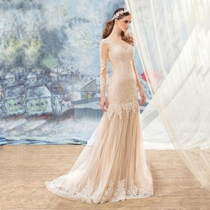 Lace Appliqued Fish Tail Cut Romance Tulle Wedding Dress Bondage