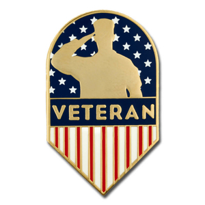 US Veteran American Flag Shield Enamel Lapel Pin