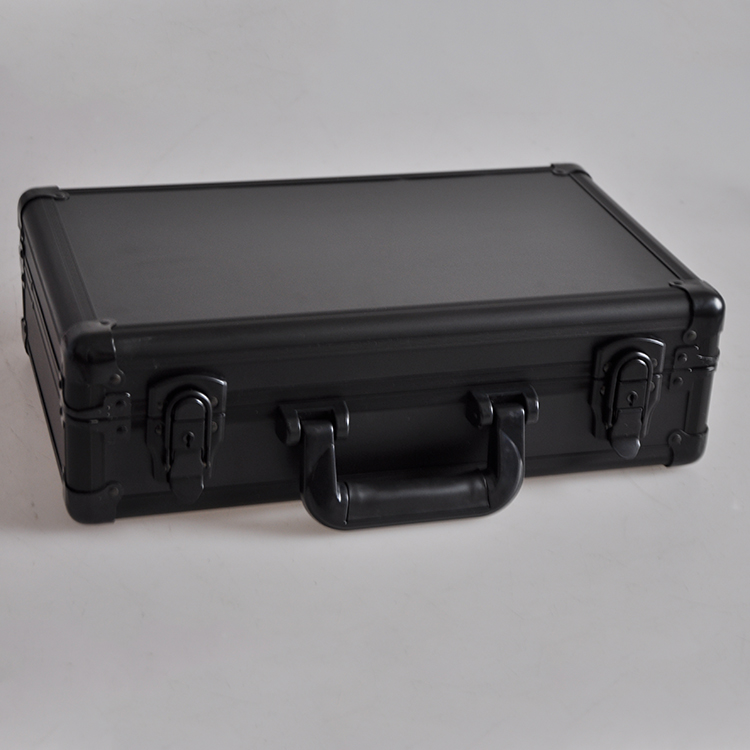 Durable Black Metal Tool Box Hard Carry Case Aluminum Utility Case