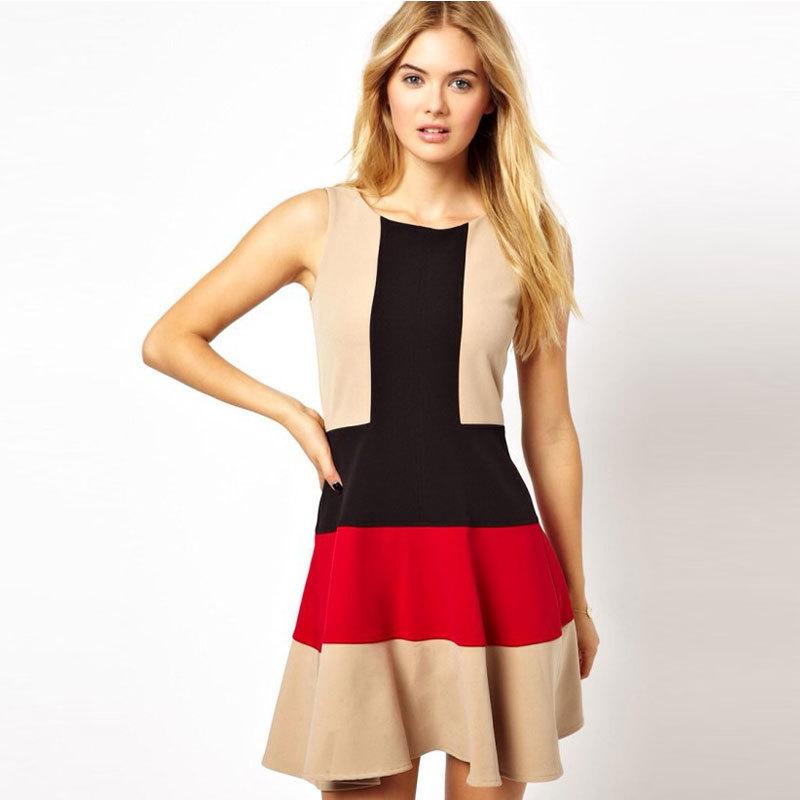 91eac3aca5df Women Brand Dresses 2015 Sexy Elegant Party Dress O Neck Sleeveless Back  Zipper Dress Patchwork Vestidos Femininos Summer Style