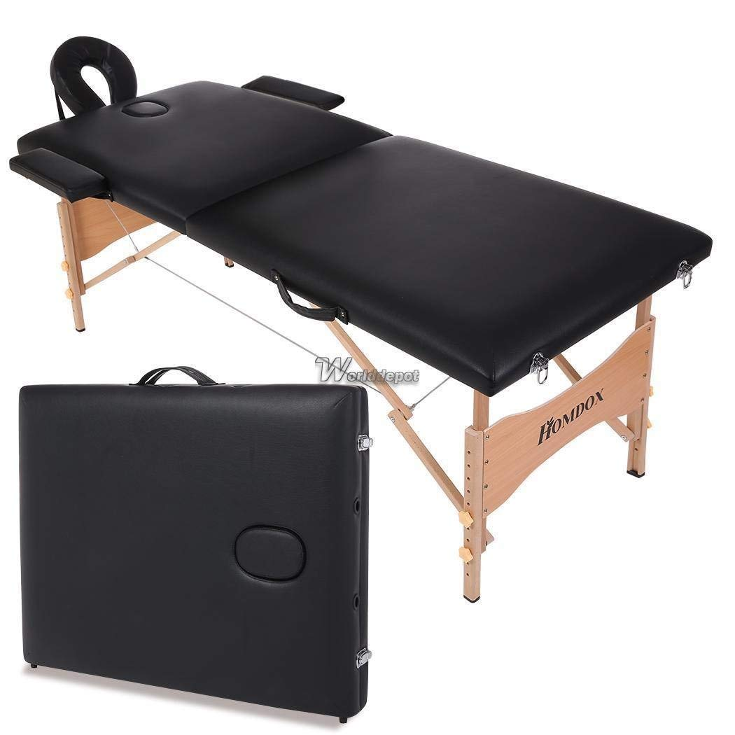 Homdox Portable Two-fold Pad Chair Bed Spa Facial Massage Table Carry Wt8801 02