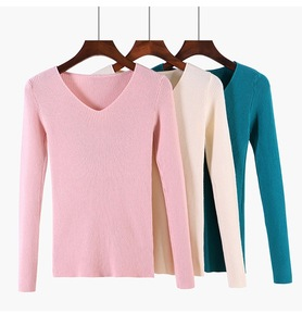 Custom Fashion Elegant Spring New Style V-neck Slim Long-sleeved Knit Wool Shirt Tops Pullover Woman Sweater
