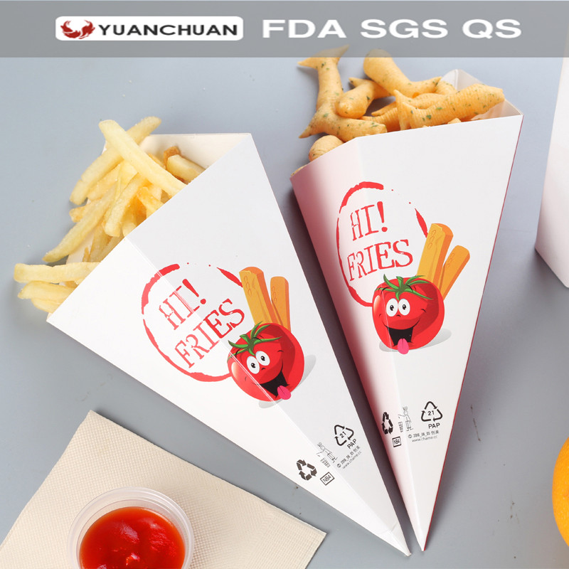 Cone shape french fries packaging box with offset printing