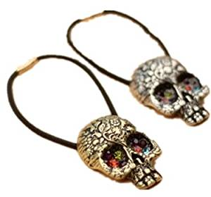 Cuhair(tm)2015 Girl Women Retro 2pcs Skull Hair Accessories Elastic Ties Plastic Hair Rope Fashion Hair Headband Ponytail Holders Hair Tie Assorted Hair Accessories Women 2pcs Punk Rivet Hair Rope Headband Ponytail Holders Hair Tie Assorted Accessories (1pcs Gold,1pcs Silver)