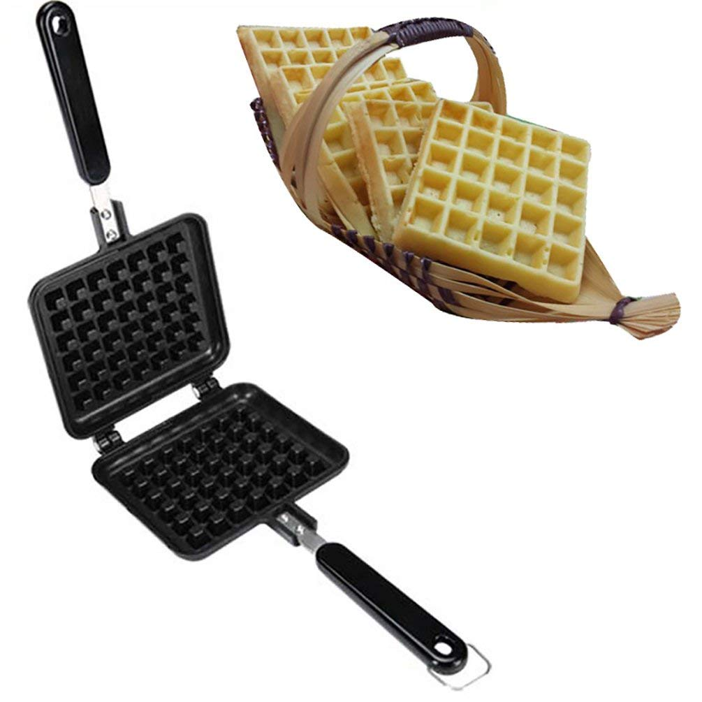 AODEW Waffle Iron Waffle Baking Mold Old Fashioned Cast Iron Stove Top Non-Stick DIY Waffle Cake Mould Tray Baking Tools