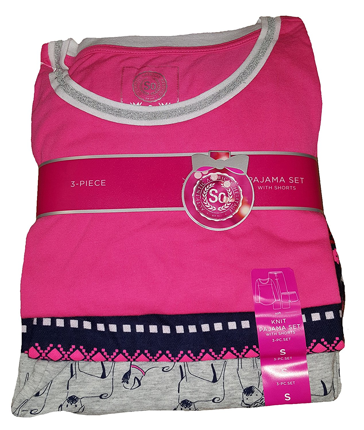 Get Quotations · Junior s SO Pink Knit Top   Pugs Flannel Bottoms   Shorts  Pajama Sleep Set 835960399