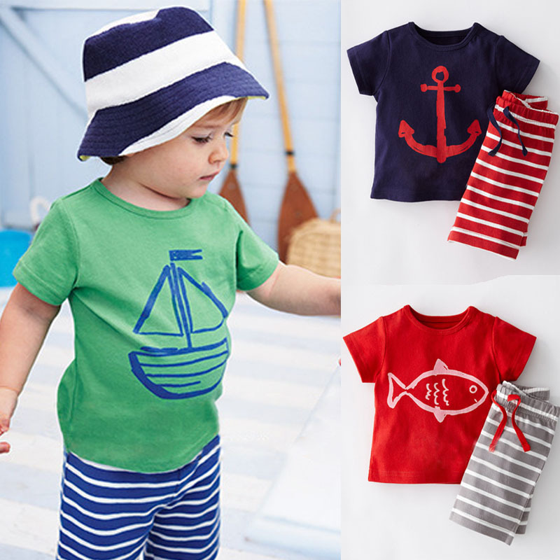 2016 Summer Boys Clothes Sets Kids Clothes Short Sleeve Cartoon T Shirt Striped Pant Boys Clothing