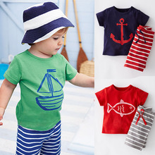 2016 Summer Boys Clothes Sets Kids Clothes Short-Sleeve Cartoon T-Shirt + Striped Pant Boys Clothing Set CF101