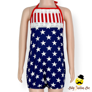 5ff0451c77c Kids Clothing Frock Design 4 Th Of July Navy Star Red Striped Lace Trim  Halter Matching