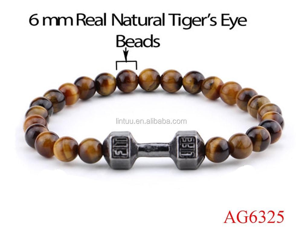 Men/'s /& Women/'s Genuine beaded bracelet all 6mm crystal Tiger Eye beads Limited