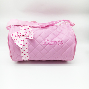 Quilted duffel bag with bow pink dance competition travel bag cute girls travel duffel bags
