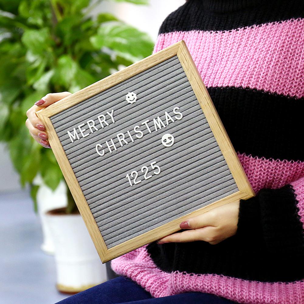Vendas Hot Feltro Cinza Carta 10x10 Polegadas com 338 Letras Mutável Message Board Placa da Mensagem de Exibição De Madeira