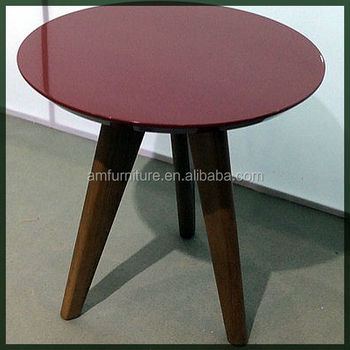 Modern High Gloss Mdf Colourful Side Table Coffee Table With Beech Legs