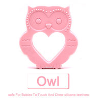 Amazon New Design Jewelry Fashion Necklaces Silicone Baby Teether night owl Shape Silicone Teether pendant