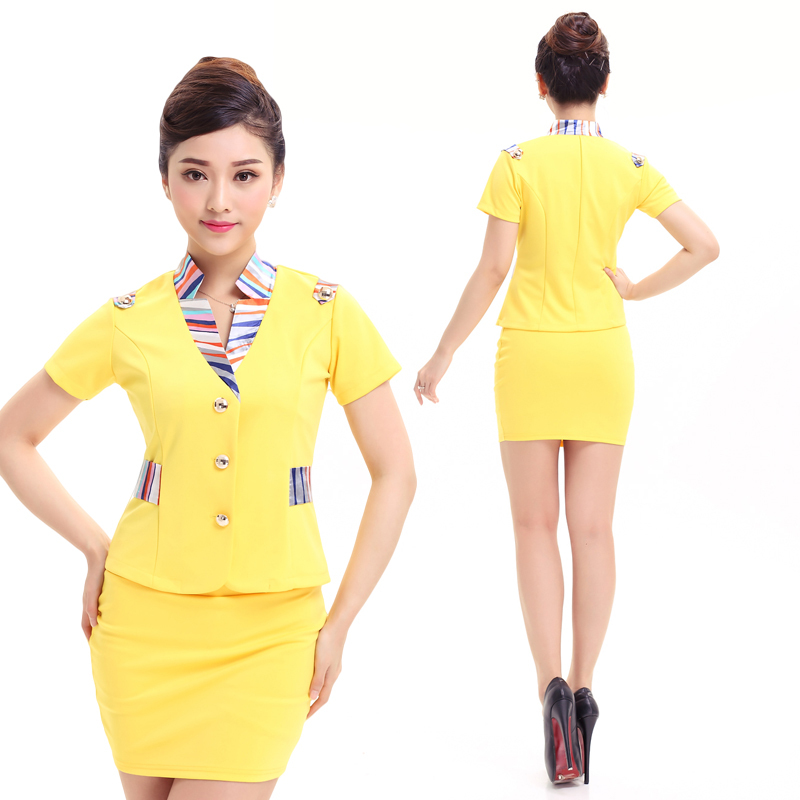 adb2e3b79c707 Free Shipping New Summer Women Formal Work Uniform Solid Office Lady Skirt  Suits Airline Uniforms Brief Work Wear Plus Size