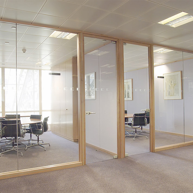 Aluminium Glass Wood Office Partition Design Half Glass Office