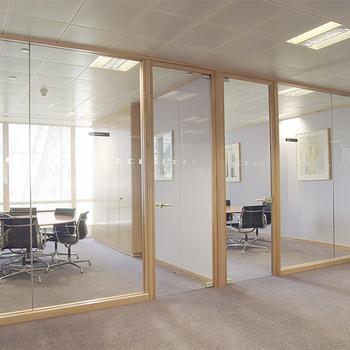 Aluminium Glass Wood Office Partition Design Half Glass